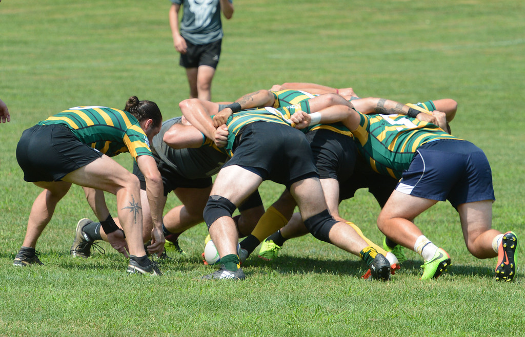 . Kevin Hockings waits for ball to clear scrum.