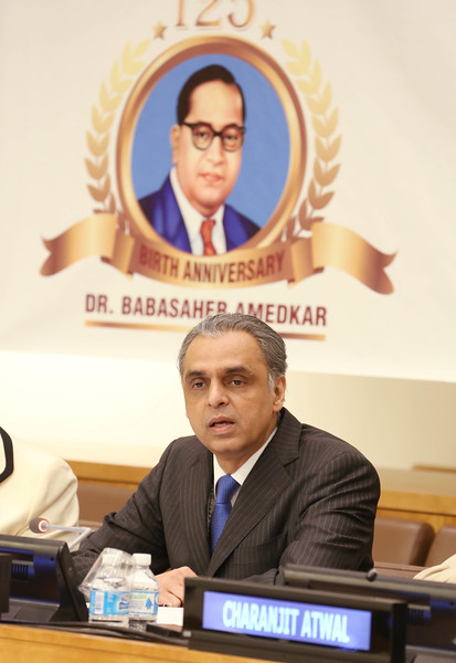 Syed Akbaruddin Indian  Ambassador to UN  paying tribute  Dr. Ambedkar on the occasion of 125th Birth  Anniversary at United Nations  in NY on 13th April 2016,Helen Clark former 3 time Prime Minister of New Zealand and Administrator of UN Development program   ,Deelip Mhaske,Charanjit Atwal Speaker Punjab Assembly ,and Kalpana Saroj can be seen....pic Mohammed Jaffer-SnapsIndia