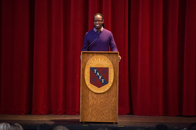 Dr. Ibram Kendi speaks during Morning Meeting