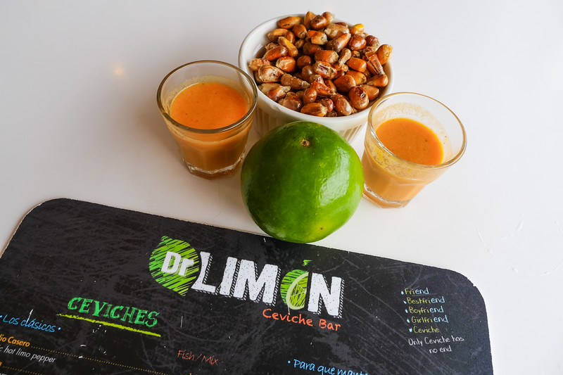 Leche de Tigre y Cancha @ Dr. Limón Ceviche Bar in Kendall