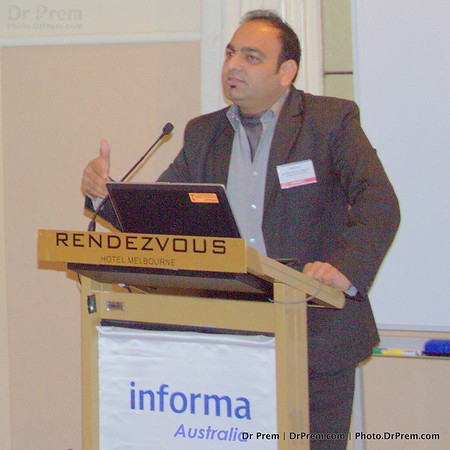 Dr Prem Jagyasi in Australia speaking during a summit