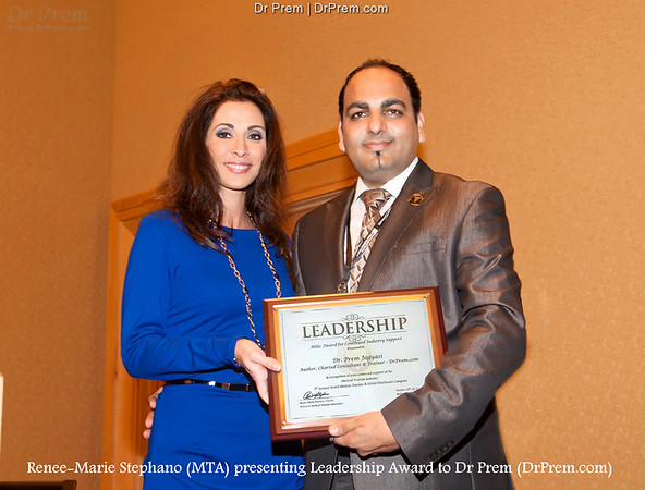 Dr Prem Jagyasi Honored With The Leadership Award From Renee Marie Stephano - Global Healthcare Conference
