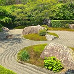 A view of the peaceful and  serene  Zen garden at the Kamigamojinja Shinto Shrine in Kyoto.