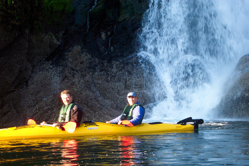 Alaska adventure! Randy Hartnell, left, and Dave Hamburg, co-founders of Vital Choice Wild Seafood & Organics, kayaking off the tip of Baranof Islands in Alaska. Their company is entirely focused on sustainable fishing practices for fresh wild salmon.
