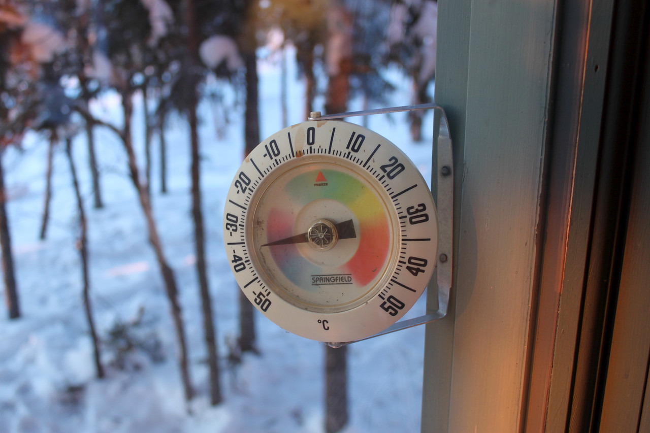 -40 Degrees: the thermometer outside the lodge displays the chilling truth. Coincidentally, minus 40 is the one temperature value where the Celsius and Fahrenheit readings align (-40C = -40F).