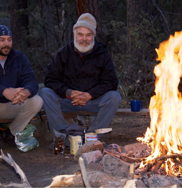 Evening campfire. The overnight campsite at Happy Valley Saddle, at 6,200 feet. Andre Fasciola is at left.