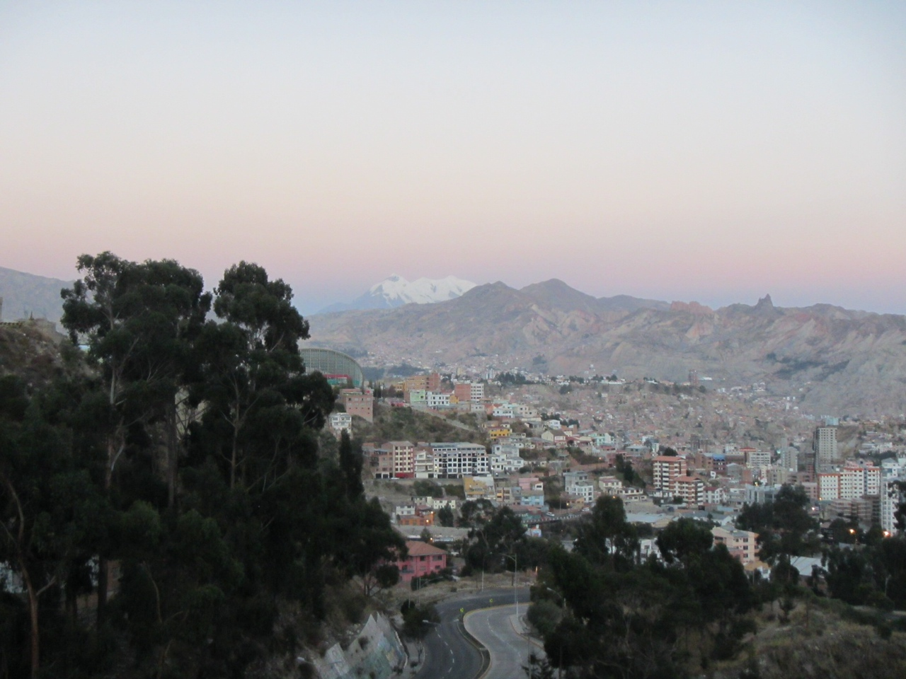 Overlooking La Paz. Mountain in background is Illimani, 16,350 feet above sea level.