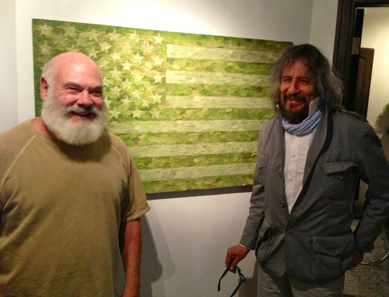 I'm with Gastón Ugalde, best-known living Bolivian artist at his gallery in La Paz.  Among his works are beautiful collages made from coca leaves.