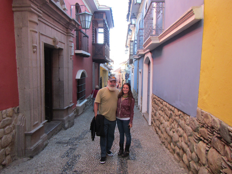 With Diana on an old street in La Paz