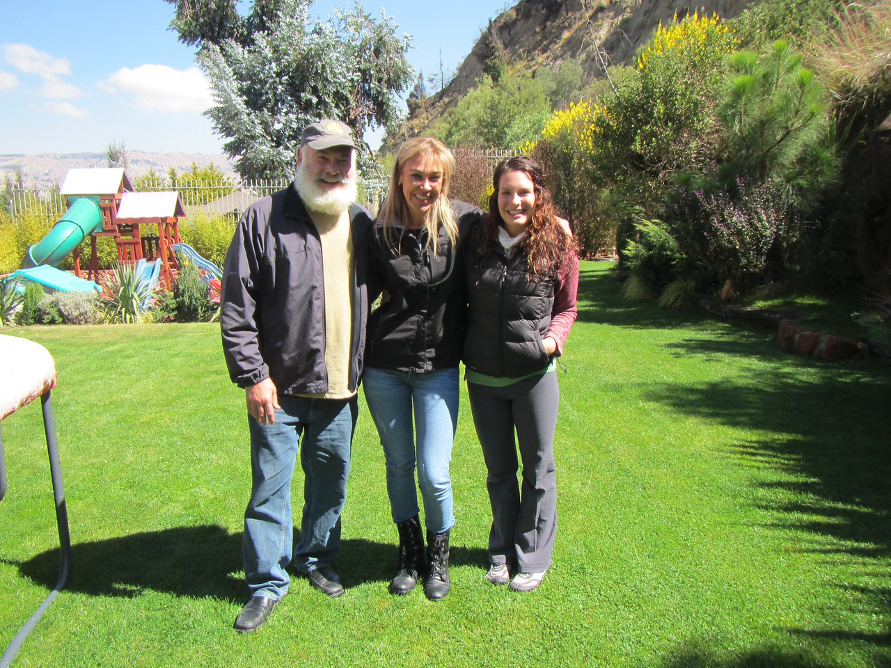 With my daughter Diana, far right, and Daniela Reznicek, of our host family, who is a singer, actress and former Miss Bolivia.