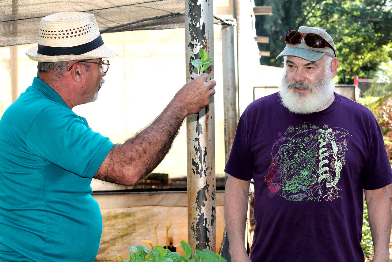 Dr. Weil walks through the organic herb gardens at Alamar Zona 8 urban garden – one of many gardens within the city of Havana where citizens can actively grow and purchase vegetables and herbs for culinary, medicinal and ceremonial purposes.
