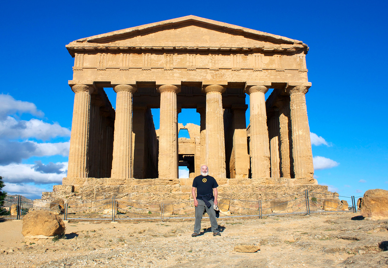 This is the Temple of Concordia located in the Valle dei Templi on the island of Sicily. Dating back to the 5th Century BC, it is a magnificent piece of architecture.