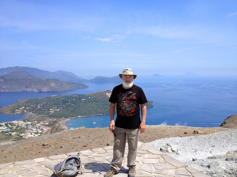Another shot from atop the island Vulcano with the Mediterranean in the background. Also in the background you see the Island of Lipari (left), and in the far distance is the other very active volcano called Stromboli (right).