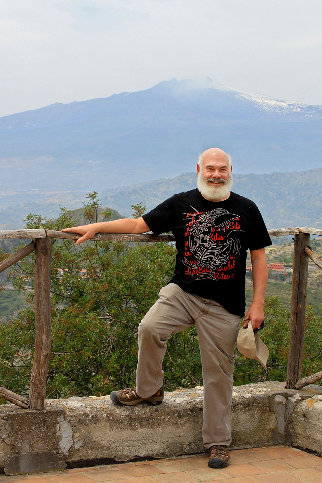 Taken from the hilltop castle Castelmola along the coast. In the background is Mt. Etna, an active volcano.