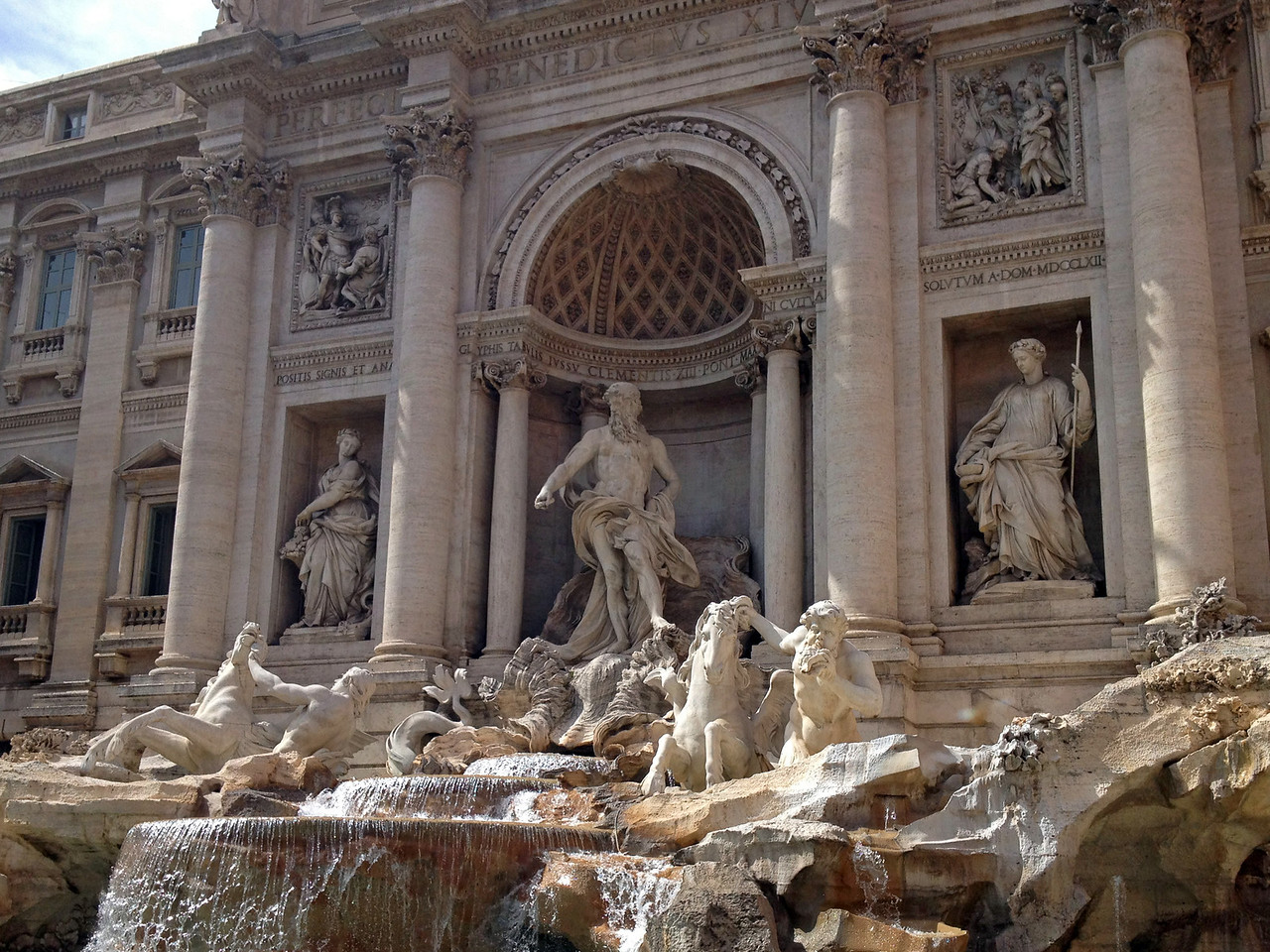 The Trevi Fountain is the largest Baroque fountain in the city of Rome and one of the most famous fountains in the world. The original fountain was built in 19BC as a way to offer fresh water to the city dwellers. It received a makeover in 1629 by Pope Urban VIII - many special design features are attributed to the famous artist Bernini.<br /> <br /> A traditional legend holds that if you throw a coin into the fountain, you are ensured a return trip to Rome…I should know, it worked for me.
