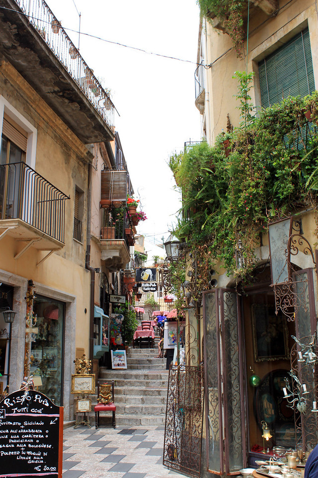 The weather was perfect for a leisurely walk around the ancient hilltop village of Taormina. Located on the east coast of the Island of Sicily, it was first inhabited by the Siculi, even before the Greeks, in 734 BC.