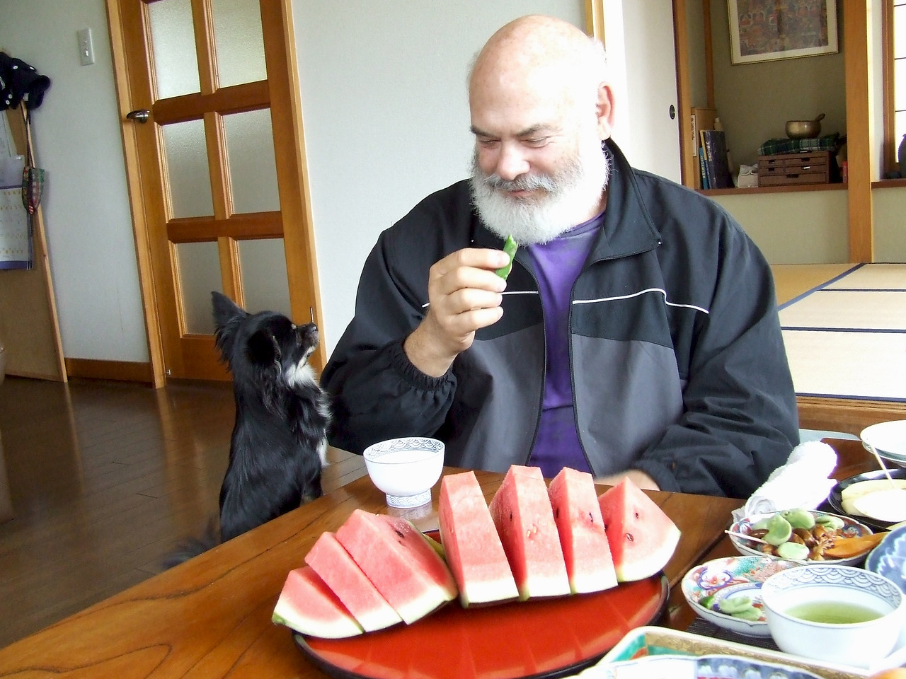 Keiichi and Harumi's dog and I share a love of fine food.