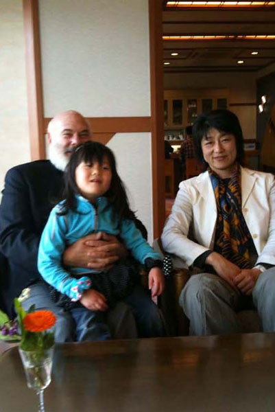 In Ise, Japan, I am enjoying a new friendship with two great people. The daughter of director Jin Tatsumura is on my lap, and to my left is Takako Takano, a Japanese woman who has explored the Arctic extensively and is a passionate advocate for environmental and cultural preservation. Tatsamura-san made the film Gaia Symphony 7, in which Takano-san and I were featured.