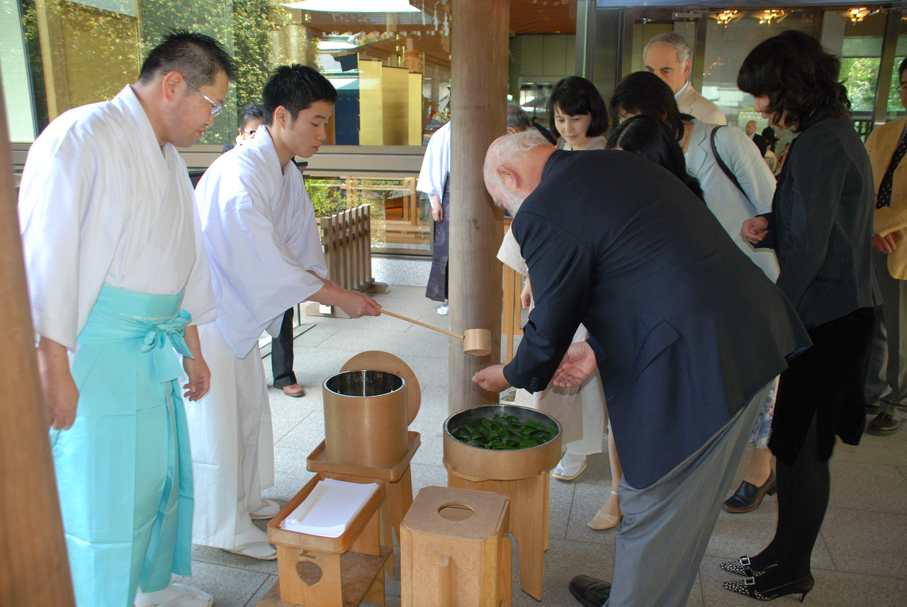 "Shinto Purification Ritual. My hands are washed as part of a purification ritual at Meiji Shrine prior to the premiere of ""Gaia Symphony 7."""