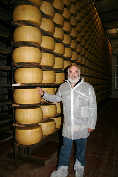 Three years to go. After salting, the long curing process begins. I am in Lucini's cheese-aging warehouse, where wheels must age for 36 months.