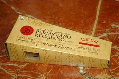The finished product! The organic Parmigiano Reggiano, in its distinctive packaging.