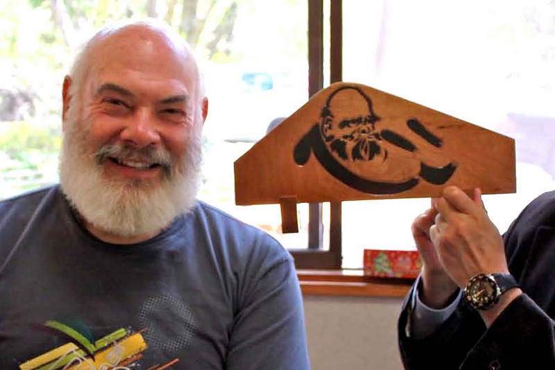 "The Zen Patriarch and me. Bodhidharma is the 5th century Buddhist monk credited with transmitting Zen to China. When a friend held up this woodcut (in a small restaurant on Japan's Izu Peninsula),  the room filled with cries of ""Same! Same!"""