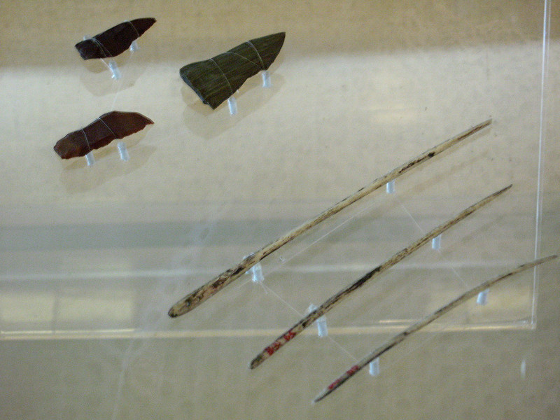 "Ancient therapies. On the lower right are acupuncture needles made of bone. In the upper left are ""Bian-stones,"" specialized sharp-edged stone tools that appeared during China's Neolithic, or ""New Stone"" Age. They were used as part of an early form of acupuncture therapy."