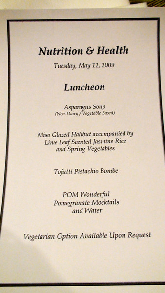 Each of the more than 200 luncheon diners was presented with this list of the courses to come.