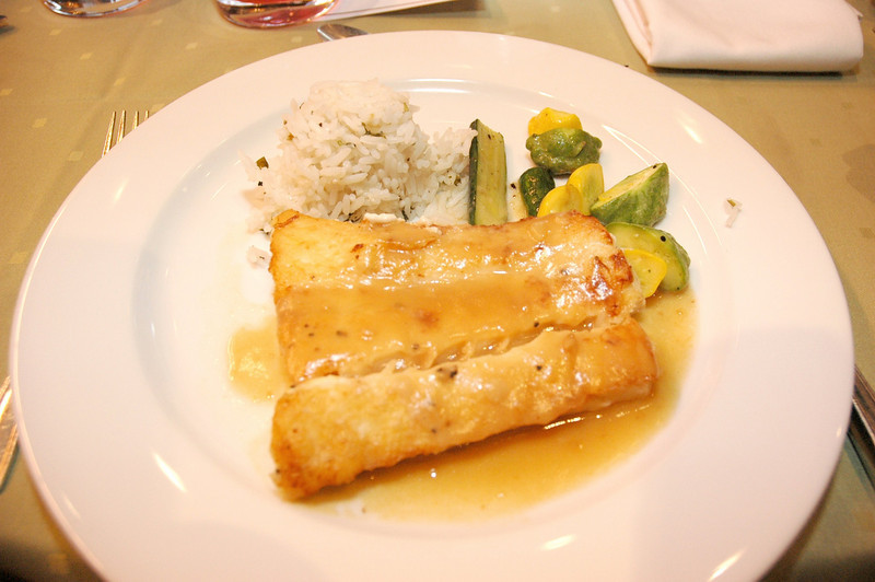 The main course: Miso-glazed halibut accompanied by lime-leaf-scented jasmine rice and spring vegetables provided the perfect mix of protein, slow-digesting carbohydrates and healthy omega-3 fats.