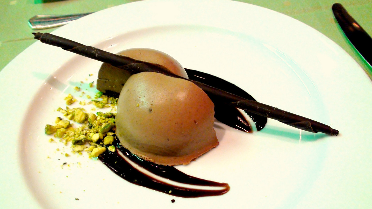 Dessert: the tofutti pistachio bombe was light and refreshing.
