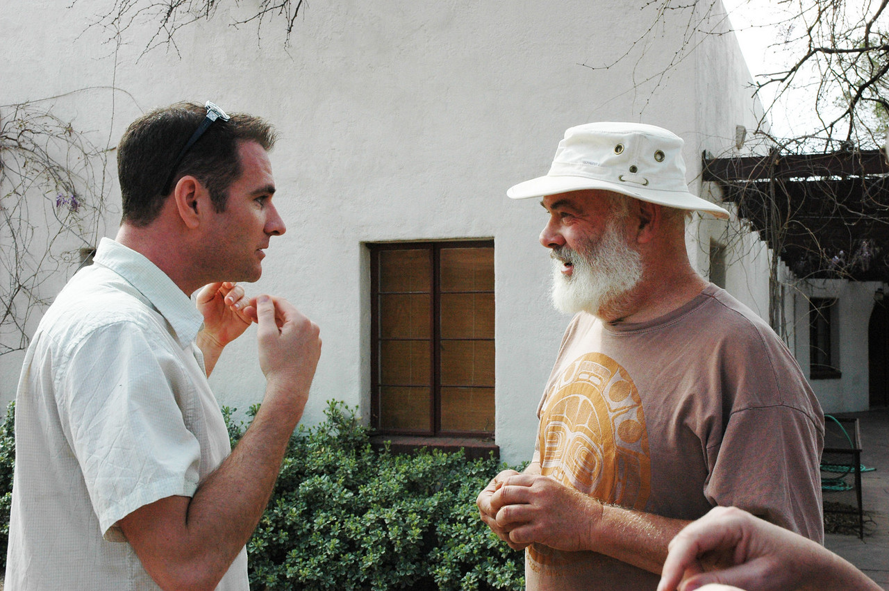 Dr. Weil with director Richard Martin, consulting on the production timeline.
