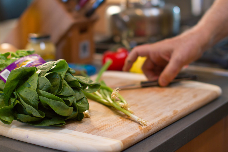 """Spinach and scallions, soon to be a part of my <a href=""""http://www.drweil.com/drw/u/RCP00199/Turkish-Spinach-Salad.html"""">Turkish Spinach Salad</a>."""