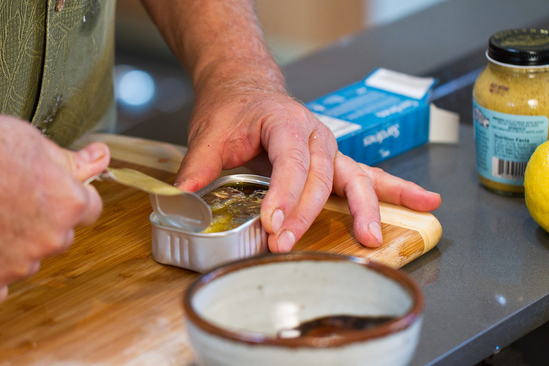 """Opening a fresh pack of sardines to be used in my <a href=""""http://www.drweil.com/drw/u/RCP00183/Sardine-or-Kipper-Sandwich-Spread.html""""> Sardine Sandwich Spread </a>. You can also use kippers!"""
