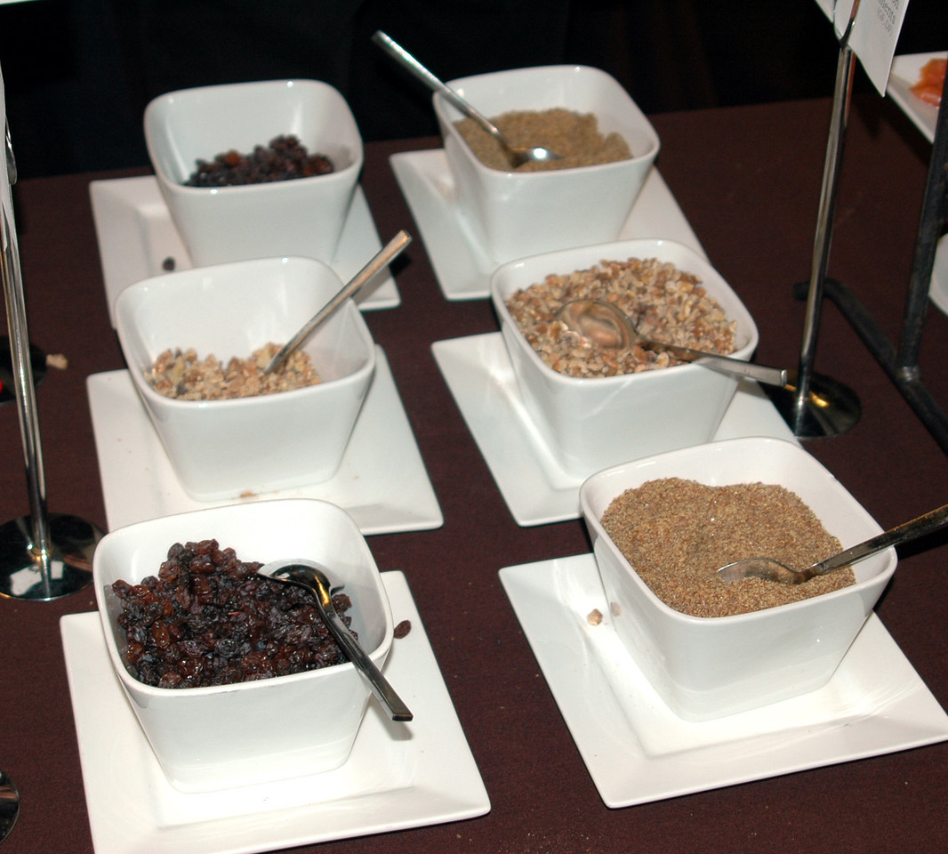 One of the choices for breakfast was steel-cut oats with some great add-ins including walnuts, raisins, and freshly ground flax seed.
