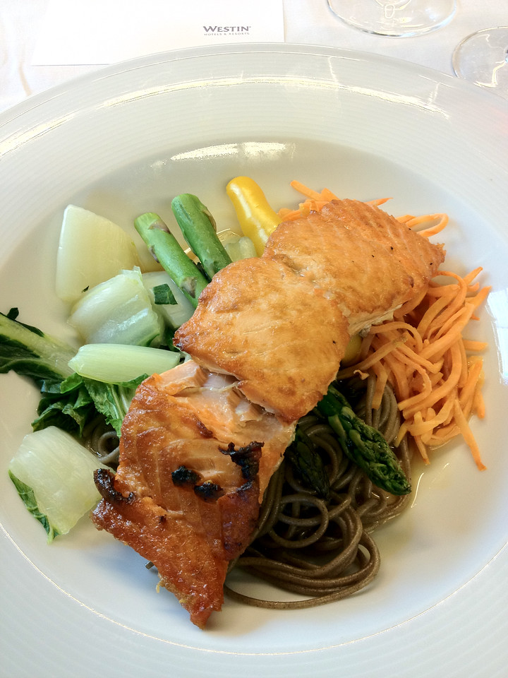 This maple-glazed wild Alaskan King Salmon was cooked to perfection and came with a delicious bed of buckwheat soba noodles, stir-fried baby bok choy and julienne sweet potatoes.