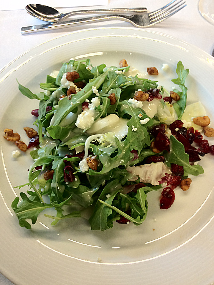 On the second day, lunch started with an arugula and endive salad with cranberries, goat cheese, walnuts and radicchio, all dressed with a honey champagne vinaigrette.