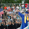 Dracut High School Class of 2018 Vice President Owen Ford welcomes his classmates to graduation Friday evening. Lowell Sun/Chris Lisinski