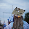 A Dracut High School senior's graduation cap glows during commencement Friday. Lowell Sun/Chris Lisinski