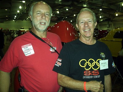 "New gasser resto owner Peter ""Madbrit"" Broadribb and legendary gasser racer Dave Hales."