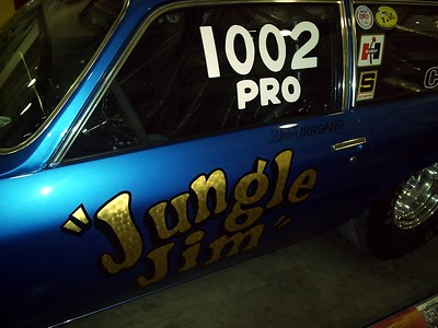 Marlin Huss has the ex-Dutch Irrgang Jungle Jim Vega Wagon Pro Stock lettered and ready to go. Awesome!