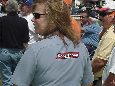 Jungle Pam Hardy modeled the latest in Draglist.com stickerwear, as she put one of our decals on the back of her shirt before going out for the legends celebration on the starting line!