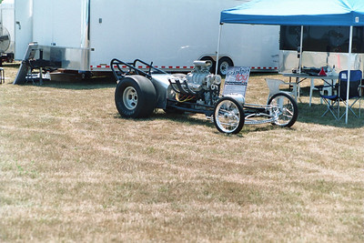 Norb and Bonnie Locke brought their small block Chevy powered vintage 1960 AA/Fuel Dragster for static fire ups. They burned nitro once in the pits and then again for the fans right before the show.