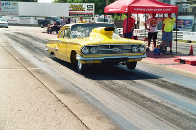 Big Mike and Margie Casella towed all the way from Middleboro, Mass. with their 1960 Chevy Bel Air Outlaw 10.5 doorslammer. Big nitrous assisted 707 inch Pat Musi Donovan Chevy motor got expert care from Mike Casella, Jr.