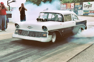 Draglister Eric Bru ran hard enough in his immaculate '56 Chevy to earn his competition license.