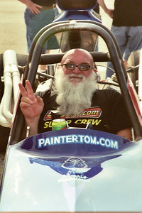 This is an absolutely fantastic shot of Painter Tom Morris, who had a great time racing his dragster with his pals.