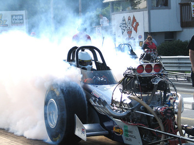 Mark Worden smokes 'em hard in the Stanke Bros. car.