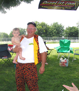 Eddyville track employee Dean Kanselaar and his grandson. Dean's a Zappy wannabe!