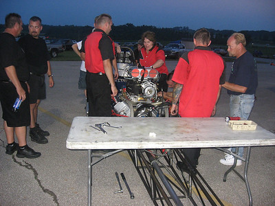 In an unfortunate turn of events, the Nitemare team had to withdraw from the final because a bolt could not be found and was suspected to have fallen into the engine. The team pulled off the manifold and blower, but could not find the piece. Discretion called for a more thorough inspection than time allowed and the Stanke team took a solo.