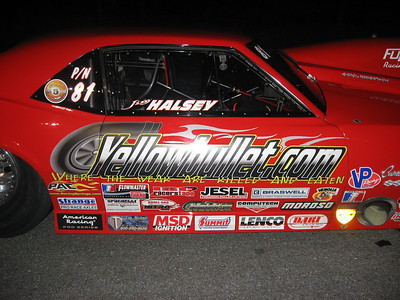 Jim Halsey picked up sponsorship from the YellowBullet.com message board, lost a close race in Pro Nitrous.