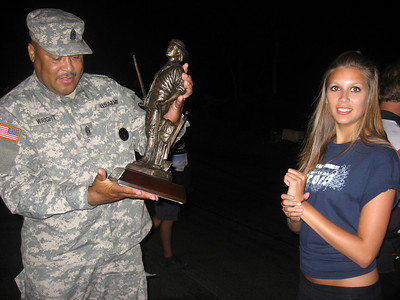 "Maryland State Command Master Sargeant Wright presented these super National Guard trophies to the winners. Melanie looks on. Rickie Smith said, ""I have a lot of trophies, but none with a gun!"""